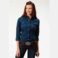 Roper Ladies Navy Snap Front Western Shirt