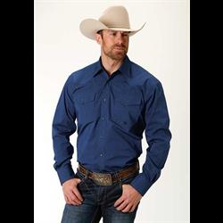 Roper Men's Solid Blue Western Shirt