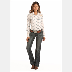 Rock & Roll Cowgirl White With Steer Skulls Wester Shirt