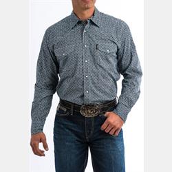 Cinch Men's Teal Purple Geometric Print Western Shirt