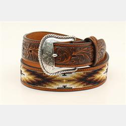 Nocona Men's Floral Beaded Inlay Brown Belt