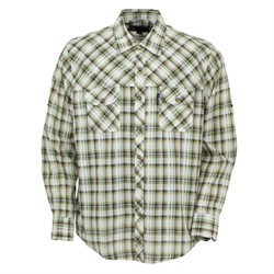 Outback Men's Marlow Olive Plaid Long Sleeve Shirt