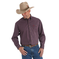 Wrangler Men's George Strait Maroon Blue Western Shirt