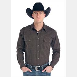 Panhandle Slim Solid Chocolate Western Shirt