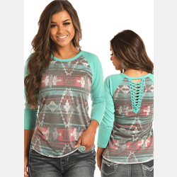 Rock N Roll Cowgirl Junior Turquoise Aztec Top