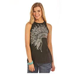 Rock & Roll Headdress Tank Brown
