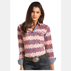 Rock N Roll Juniors Red Blue Aztec Shirt