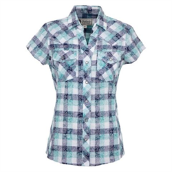 Outback Blue Paisley Plaid Elaine Shirt