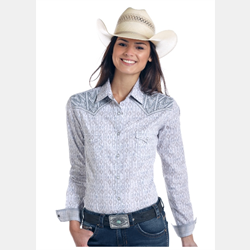Panhandle Ladies Grey White Print Snap Front Western Shirt