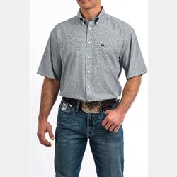 Cinch Men's Short Sleeve Light Blue Print Western Shirt