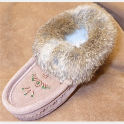 Laurentian Chief Tobacco Fur Trimmed Slippers