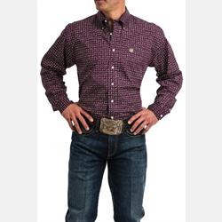 Cinch Men's Tencel Purple Lime Print Button Down Western Shirt