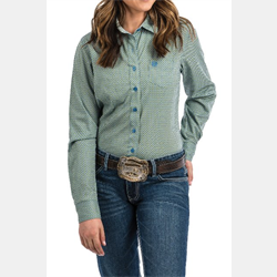 Cinch Women's Lime Blue Geo Print Western Shirt