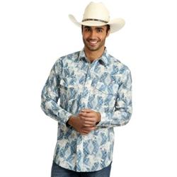 Wrangler Men's Blue Ivory Checotah Long Sleeve Vertical Print Shirt
