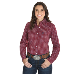 Wrangler Ladies George Strait For Her Red Print Western Shirt
