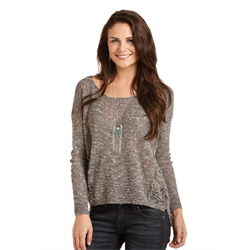 Rock & Roll Cowgirl Crochet Charcoal Sweater