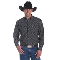 Wrangler Men's George Strait Black Red Print Western Shirt
