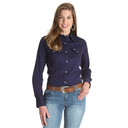 Wrangler Ladies Retro Solid Navy Sanp Front Western Shirt