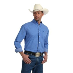 Wrangler George Strait Relaxed Fit Blue Print Western Shirt