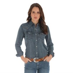 Wrangler Women's Buffalo Skull Embroidered Denim Shirt