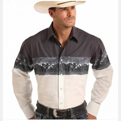 Panhandle Men's Scenic Border Western Shirt