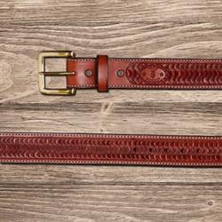 Texas Saddlery Mens Mahogany Swirl Tooled Leather Western Belt