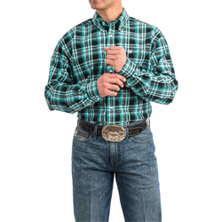 Cinch Men's Button Down Turquoise Black Plaid Western Shirt