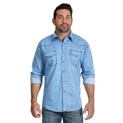 Wrangler Men's Advanced Comfort Competition Blue Paisley Shirt