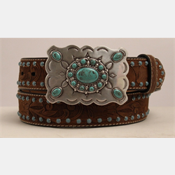 Nocona Girls Turquoise Laced With Brown Tooling Belt