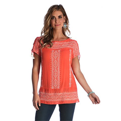 Wrangler Women's Embroidery Peasant Top Orange