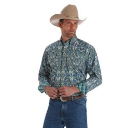 Wrangler Men's George Strait Green Paisley Western Shirt