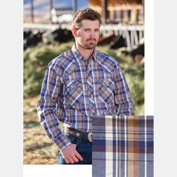 Wyoming Traders Blue Tan Plaid Men's Shirt