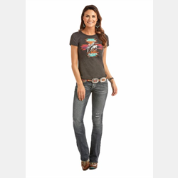 Rock N Roll Cowgirl Juniors Charcoal Aztec Bronc Logo T Shirt