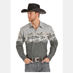 Panhandle Slim Men's Old West Grey Border Print Shirt