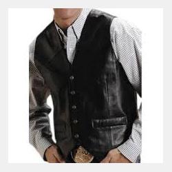 Roper Men's Black Lamb Leather Snap Vest