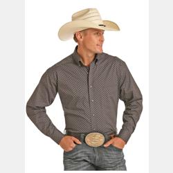 Panhandle Tuf Copper Long Sleeve Stretch Poplin Print Shirt