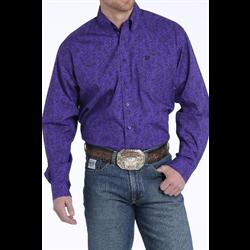 Cinch Men's Cotton Western Shirt Purple Paisley