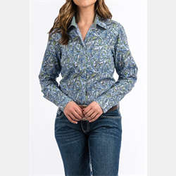 Cinch Women's Blue Paisley Print Button Down Shirt