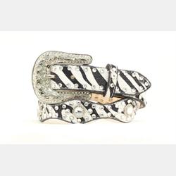 Blazen Roxy Girls Sculpted Zebra Print Scalloped Belt