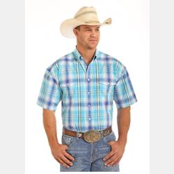 Panhandle Mens Short Sleeve Aqua Plaid Shirt