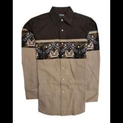 Panhandle Brown Tan Border Western Shirt