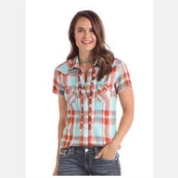Panhandle Short Sleeve Turquoise Orange Plaid Shirt