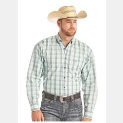 Panhandle Slim Teal Grey Plaid Snap Front Western Shirt