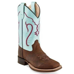 Old West Youth Brown Silver Light Blue Cowboy Boots