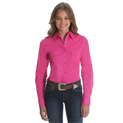 Wrangler Ladies Solid Pink Western Shirt