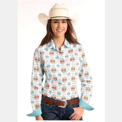 Panhandle Slim White Label Aztec Print Western Shirt