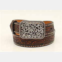Ariat Girls Brown Leather Floral Tooled With Spot Edging Belt