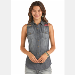 Rock N Roll Cowgirl Sleeveless Denim Shirt
