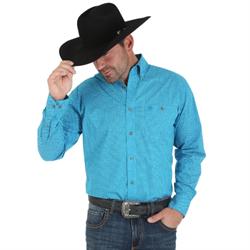 Wrangler® Men's Classics Long Sleeve Western Blue Button Shirt