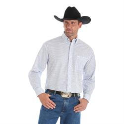 Wrangler Men's George Strait White and Blue Cross Western Shirt
